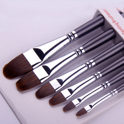 6 Pcs/Set Red Weasel Hair Artist Art Paint Flat Brush For Watercolor Oil Acrylic