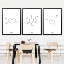 Load image into Gallery viewer, Caffeine Molecule Print Coffee Sign Coffee Artwork Black White Art Print Poster Coffee Lovers Gift Chemistry Gift HD2111