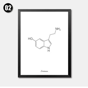 Caffeine Molecule Print Coffee Sign Coffee Artwork Black White Art Print Poster Coffee Lovers Gift Chemistry Gift HD2111