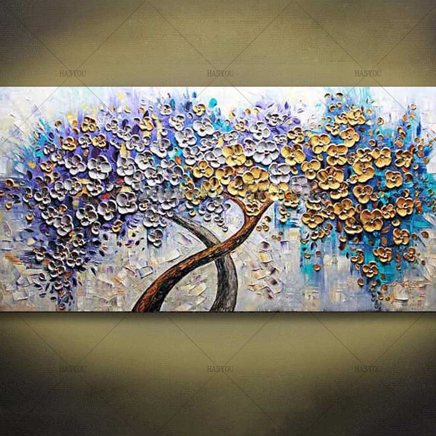 Hand-Painted Palette Knife Art Purple Golden Flower Tree Oil Painting 1 Panel Wall Art On Canvas Decorative Home Decor Art Work