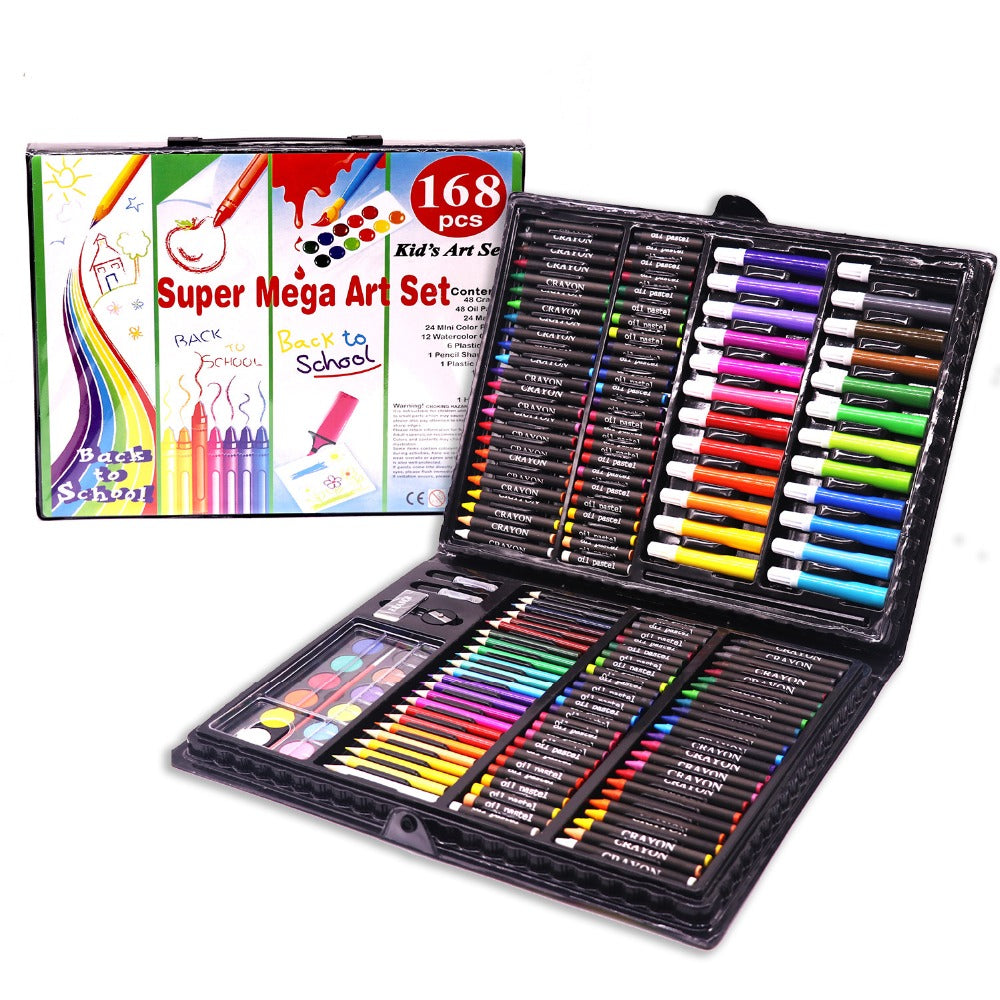 168pcs Drawing Art Set School Painting Pen Marker Watercolor Brush Pen For Kids Gift Box Art Supplies