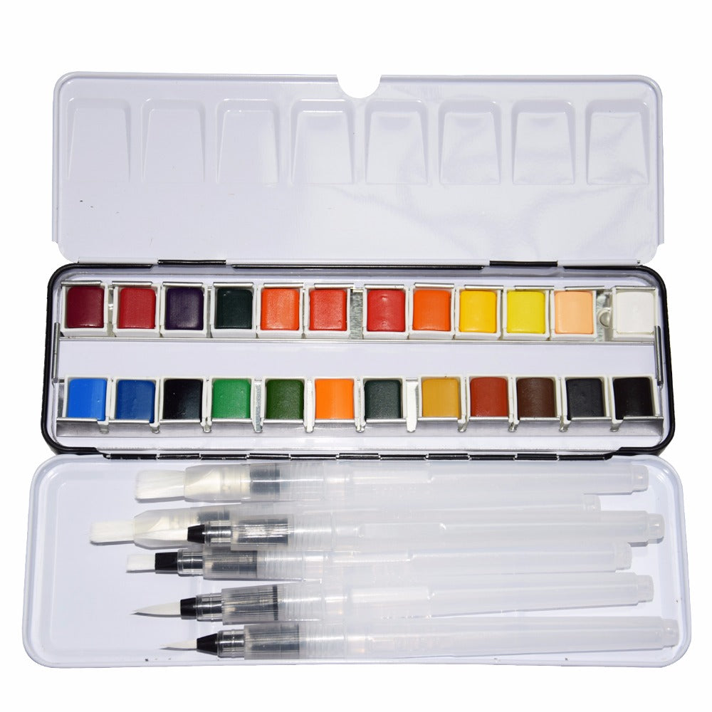 24 Colors Pigment Solid Watercolor Tin Box Paints Set With 6pcs Watercolor Paintbrush Watercolor Pigment Set Art Supplies