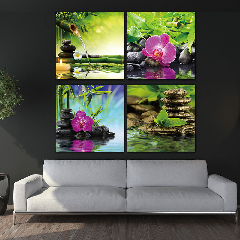 Painting Picture Print on Canvas Red Orchid Frangipani Bamboo Waterlily Black Stone in Garden - 4 Panel Giclee Art Work