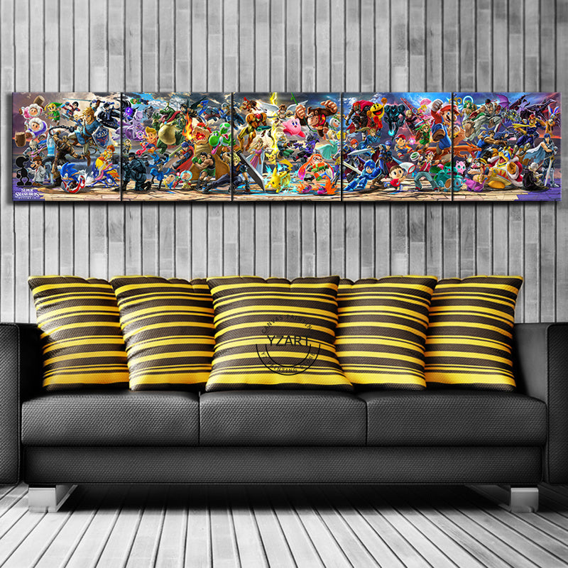 5 Piece Super Smash Bros Cartoon Pictures Video Game Poster Artwork Canvas Paintings  Wall Art for Home Decor