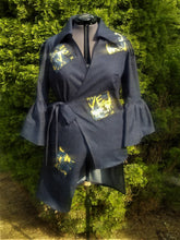 Load image into Gallery viewer, Denim wrap Jacket with high/low hem and patchwork accents