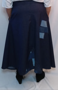 Denim Patchwork Maxi Skirt