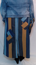 Load image into Gallery viewer, Denim Straight Line Skirt w Patchwork Square Accent