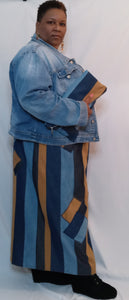 Denim Straight Line Skirt w Patchwork Square Accent