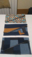 Load image into Gallery viewer, Denim Patchwork Fold Over Clutches