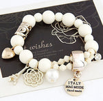 Crystal simulated Pearl Beads Hearts  Bracelets