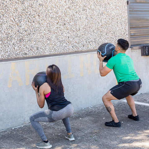 couple doing wall balls