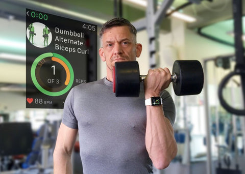 man with fitness app for strength training
