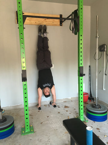 Handstand in garage gym