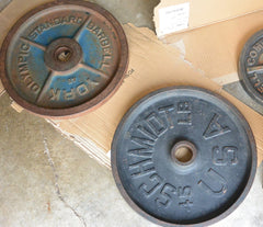 Weight plates before refurb