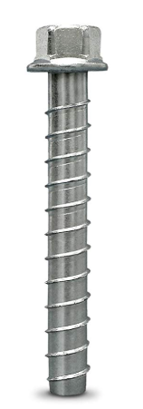 Concrete screw anchor for pull-up rig installation into concrete