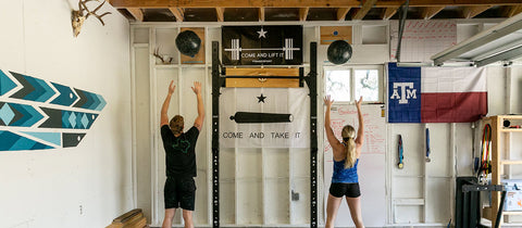 couple in home gym