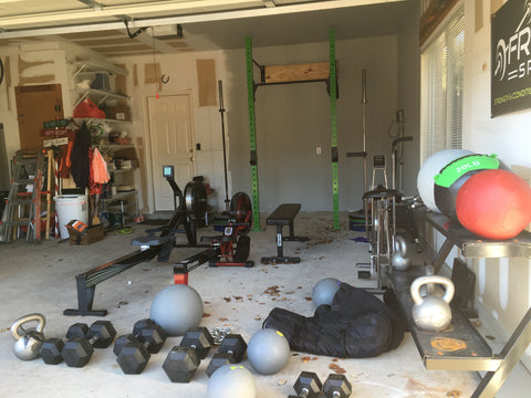 Garage gym with rowing machines
