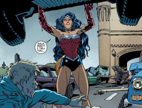 wonder woman lifting car