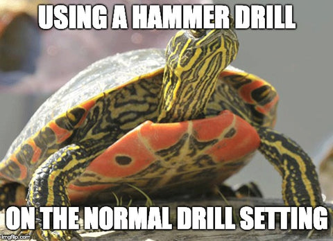 Using a hammer drill to install a pull-up rig while in the normal drill setting... is turtle time