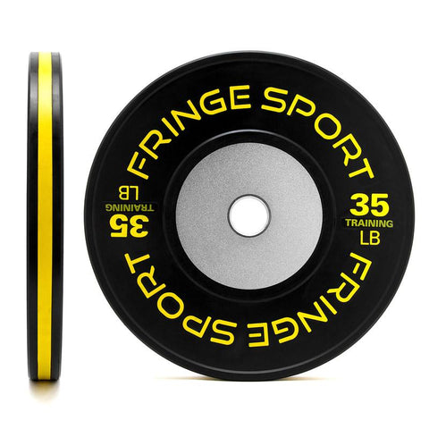 Black training competition plate 35lb yellow (650771333167)