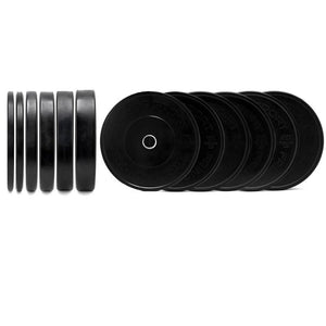 black bumper plates profile and side view