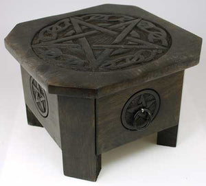 Celtic Pentagram altar table with Drawer 7 1/2""