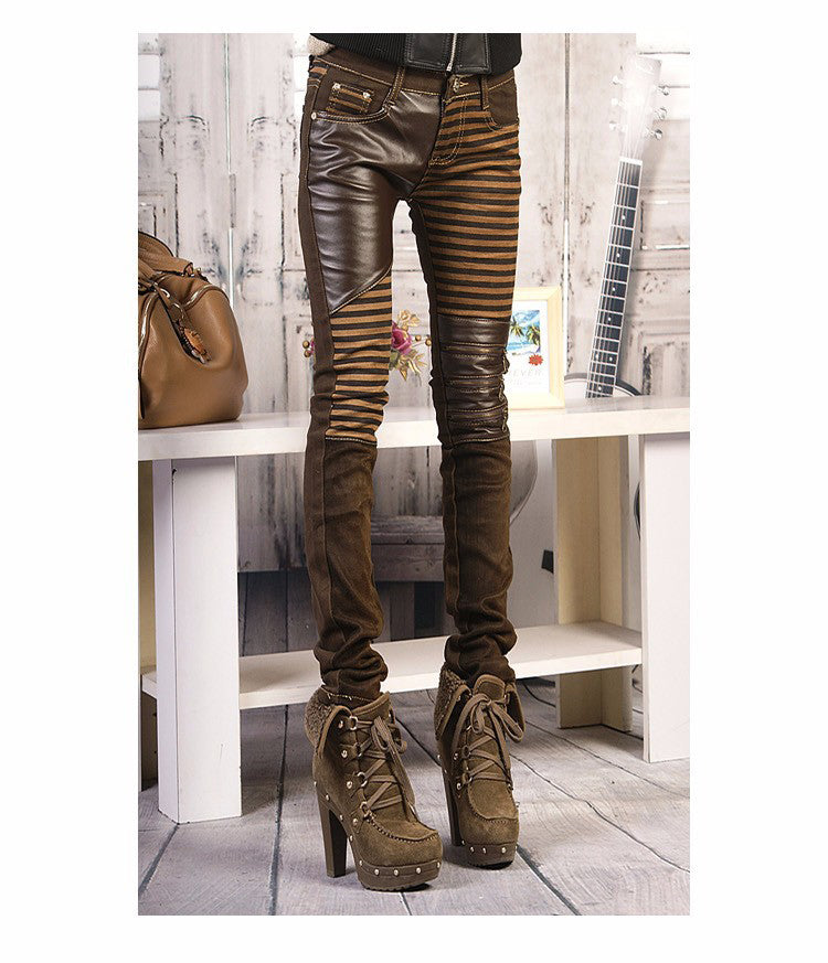 Steampunk Leather Patch Jeans