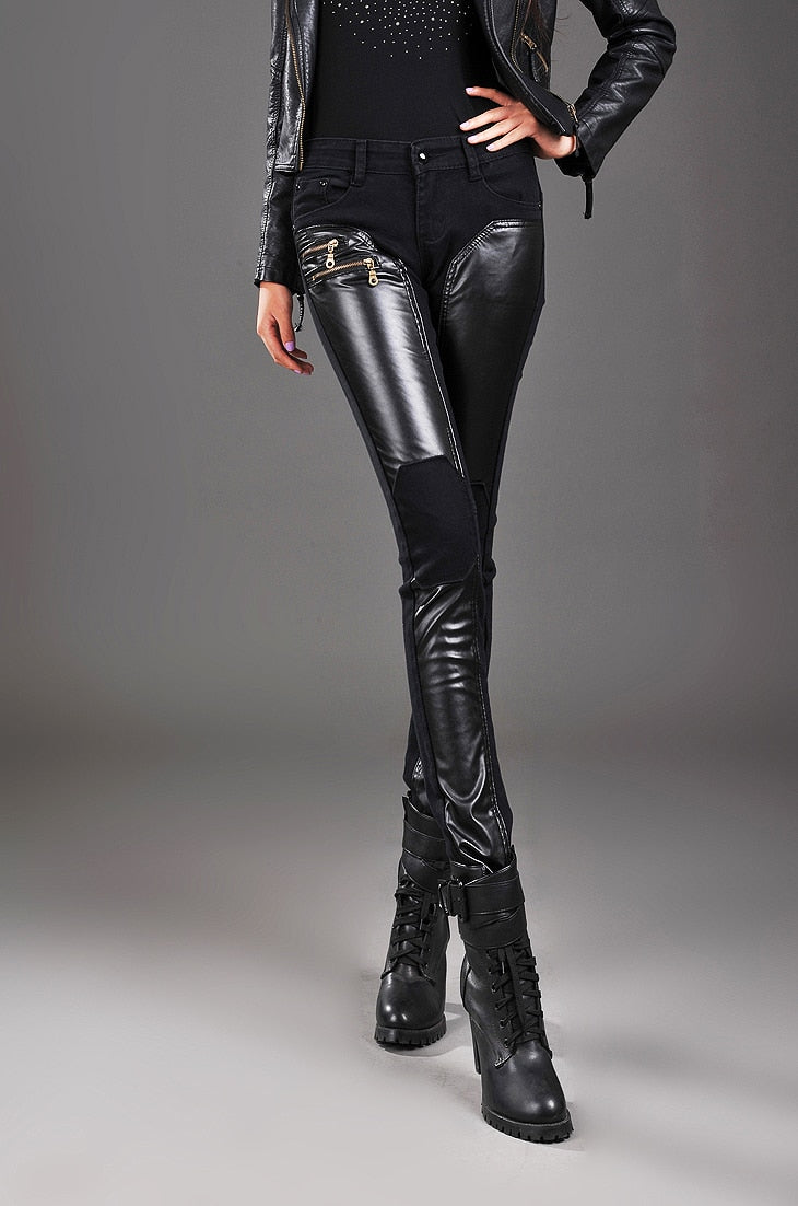 Faux Leather Patchwork Zipper Leggings