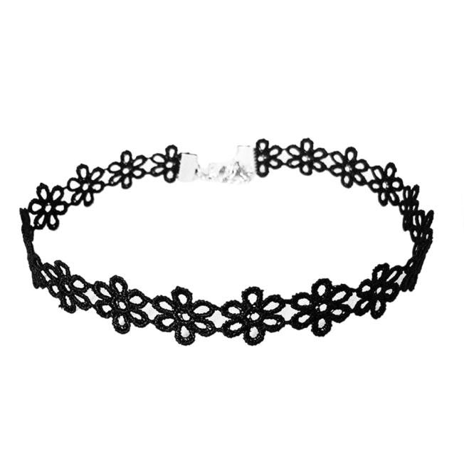 Vintage Black Lace Sunflower Choker