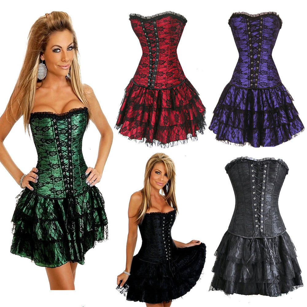 Crimson Satin Lace Bustier Corset Dress