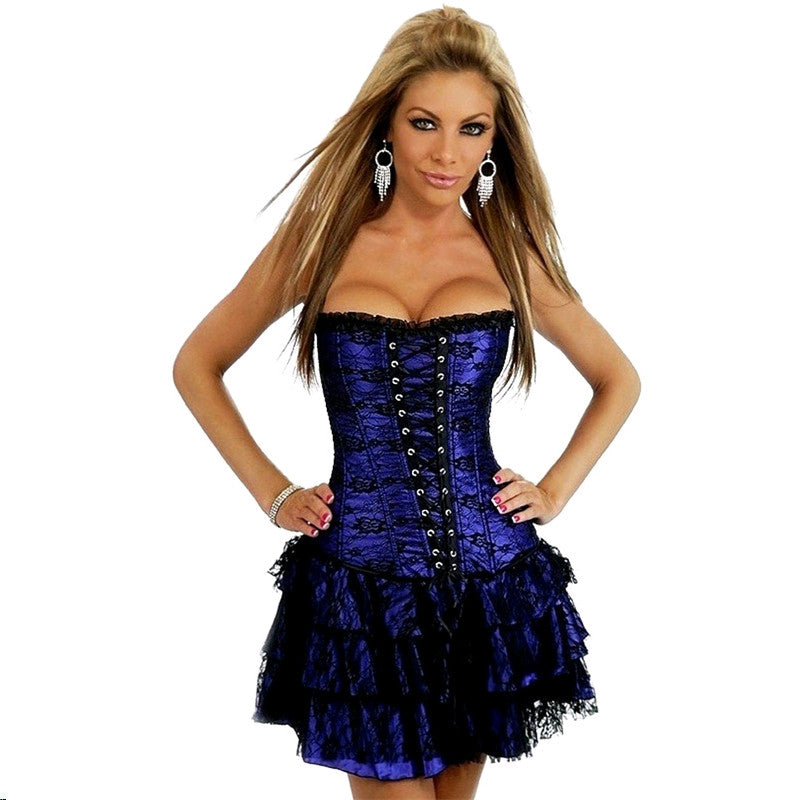 Indigo Satin Lace Bustier Corset Dress