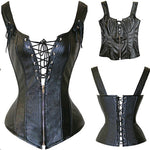 Slim Catty Corset with Zippers Faux Leather
