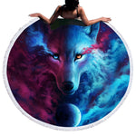 Wolf Duality Round Beach Towel Tapestry with Fringe