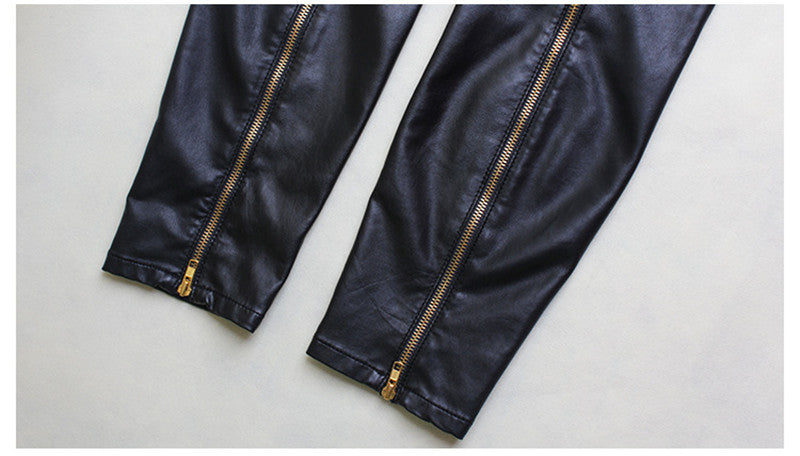 Street Faux Leather Rivet Trousers