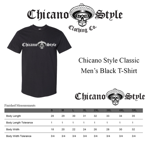 Chicano Style Clothing Size Chart - Chicano Black Short Sleeve T-Shirt