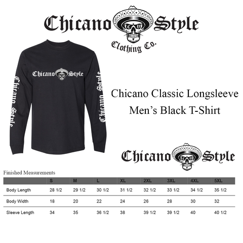 Chicano Style Clothing Size Chart - Chicano Black Long Sleeve T-Shirt