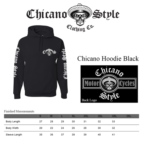 Chicano Style Clothing Size Chart - Chicano Black Hoodie