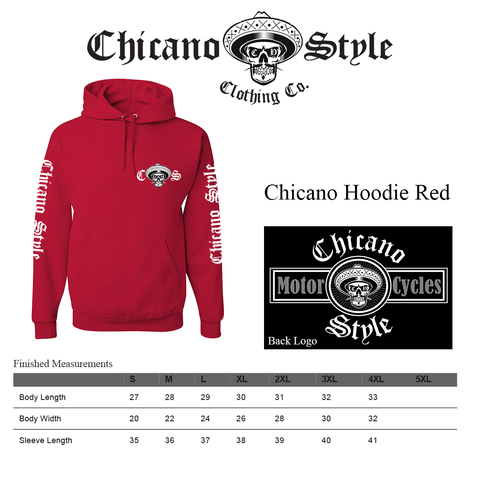 Chicano Style Clothing Size Chart - Chicano Red Hoodie
