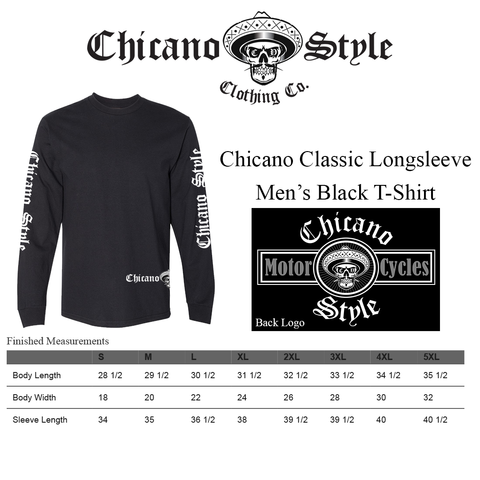 Chicano Style Clothing Size Chart - Chicano Motorcycle Black Long Sleeve T-Shirt