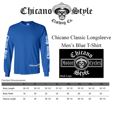 Chicano Style Clothing Size Chart - Chicano Motorcycle Blue Long Sleeve T-Shirt