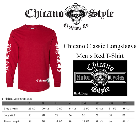 Chicano Style Clothing Size Chart - Chicano Motorcycle Red Long Sleeve T-Shirt