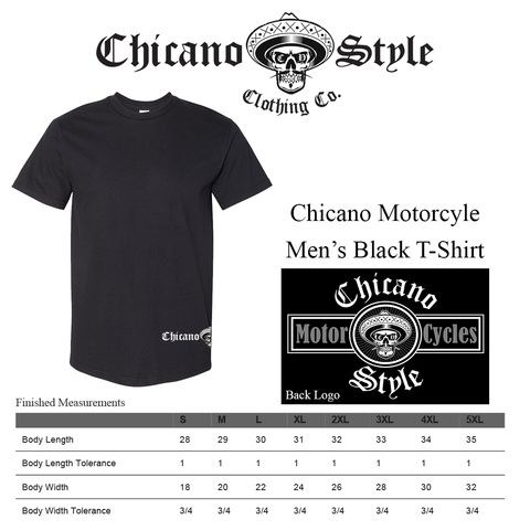 Chicano Style Clothing Size Chart - Chicano Motorcycle Black Short Sleeve T-Shirt