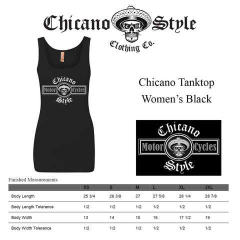 Chicano Style Clothing Size Chart - Chicano Women's Black Tank Top