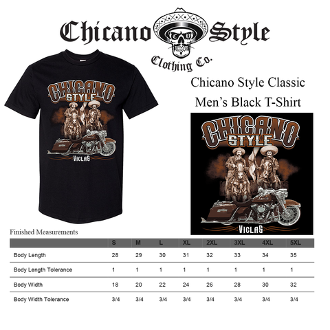 Chicano Style Size Chart Caballeros Tee