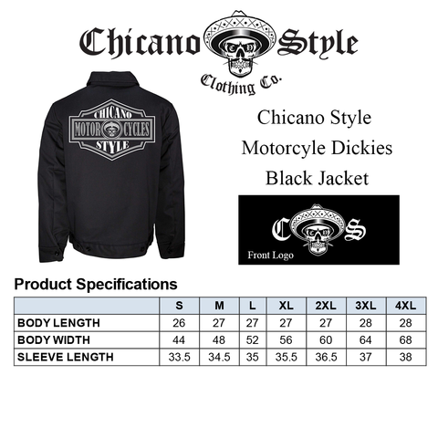 Chicano Style Clothing Size Chart - Chicano Motorcycle Dickie's Black Jacket