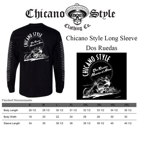 Chicano Style Clothing Size Chart - Dos Ruedas