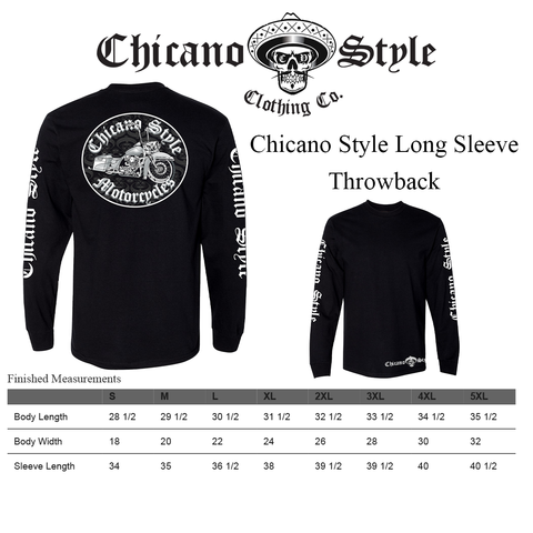 Chicano Style Clothing Size Chart - Long Sleeve Throwback