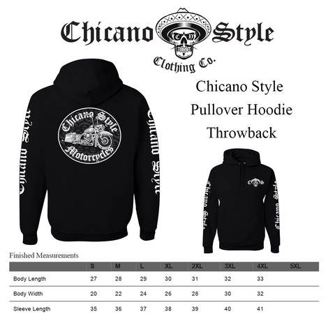 Chicano Style Clothing Size Chart - Pullover Hoodie Dos Throwback