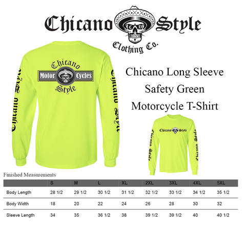 Chicano_Style_Motorcycles_Hi-Visibility_Safety_Green_Long_Sleeve_Size Chart