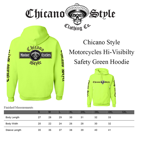 Chicano_Style_Motorcycles_Hi-Visibilty_Safety_Green_Hoodie_Sweatshirt_Size Chart